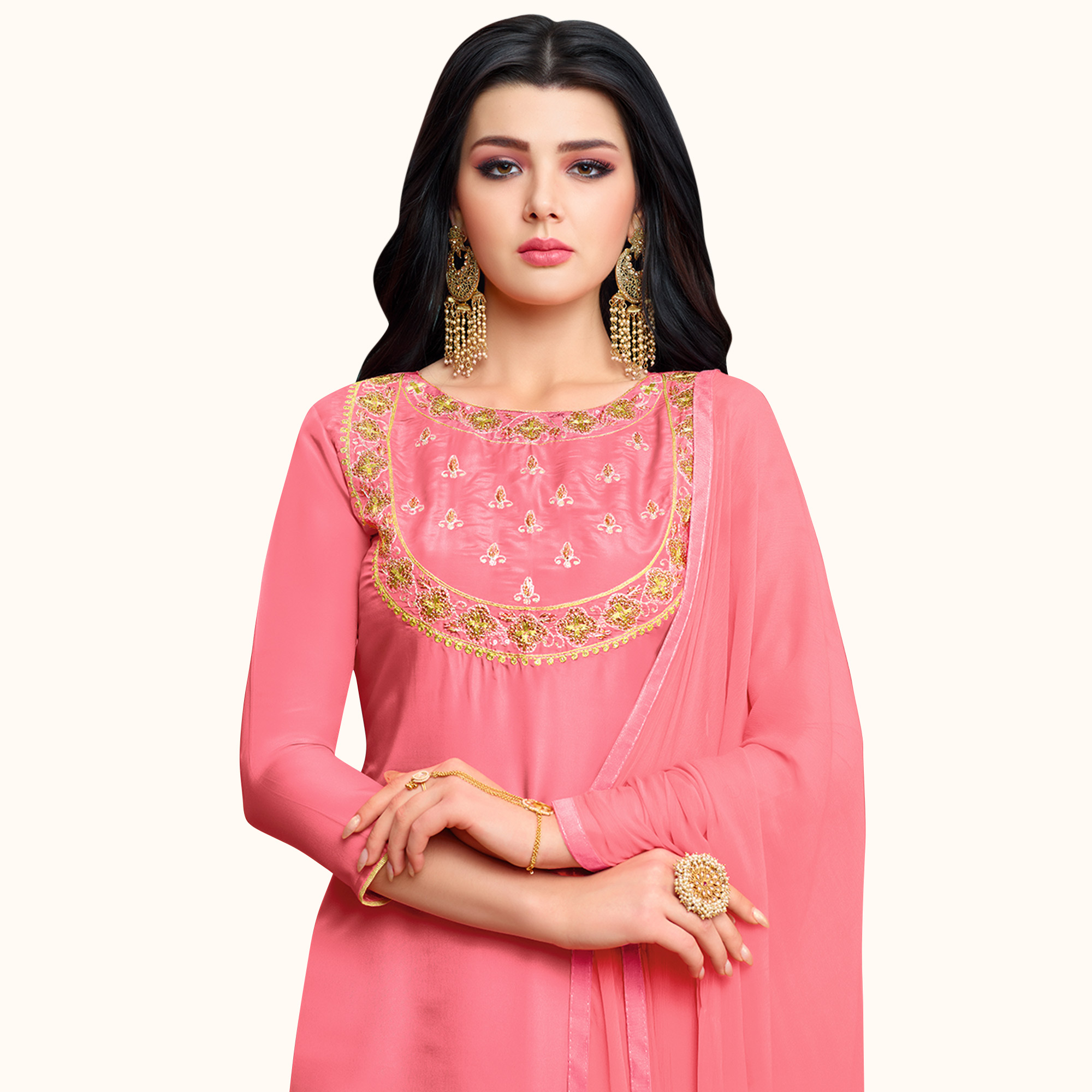 Flamboyant Pink Colored Partywear Embroidered Silk Palazzo Suit