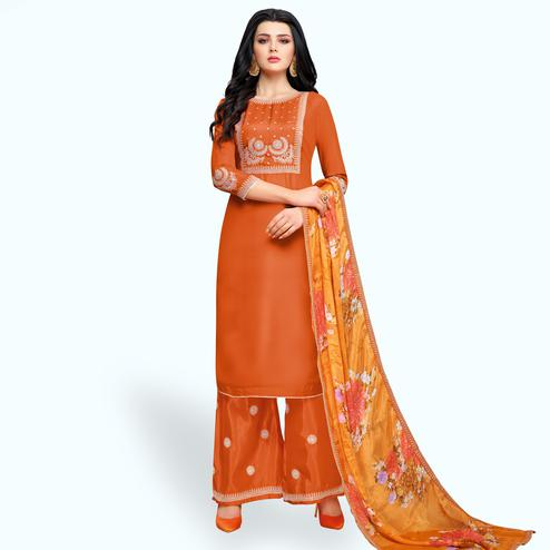 Pretty Orange Colored Partywear Embroidered Silk Palazzo Suit