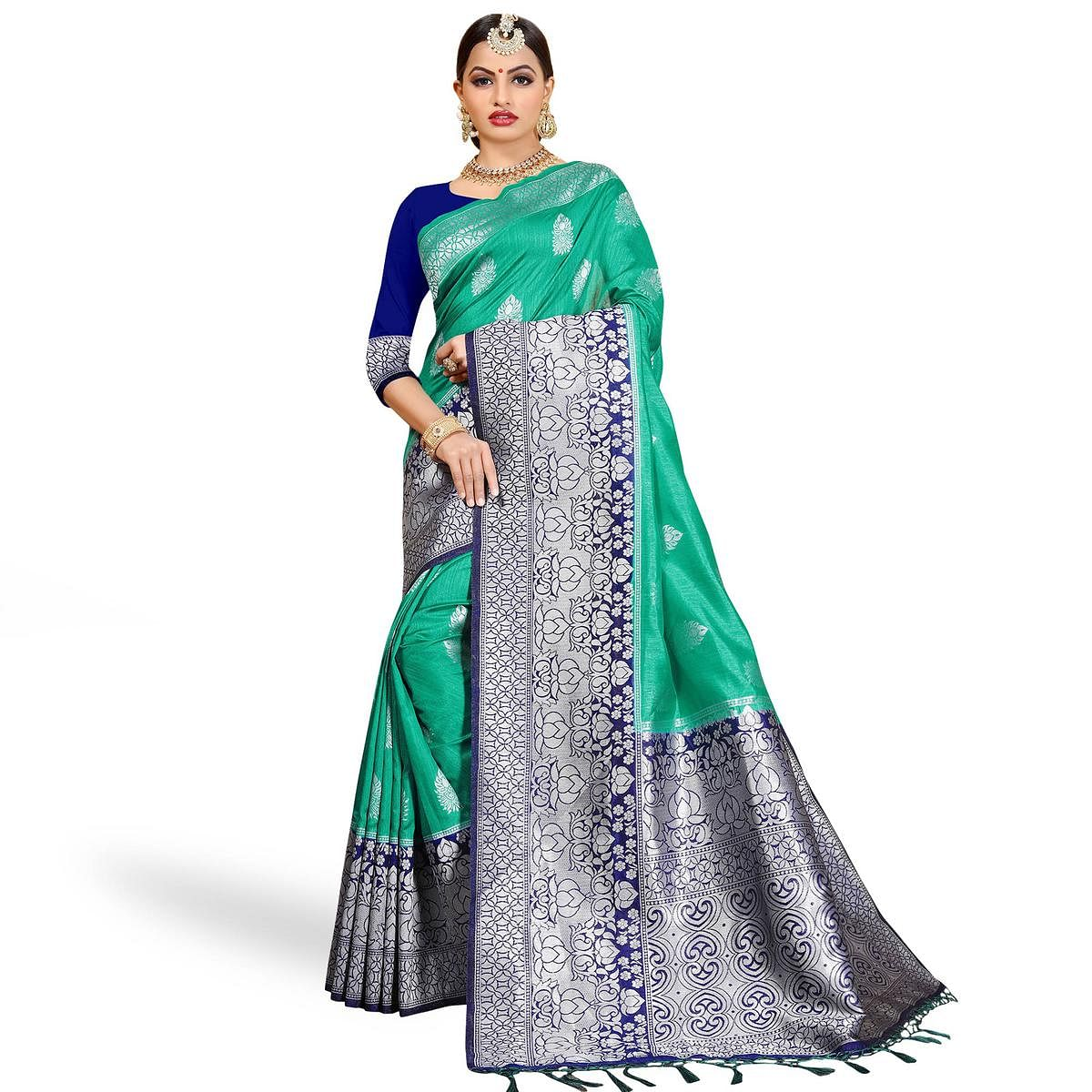 Elegant Turquoise Green Colored Festive Wear Woven Cotton Silk Saree