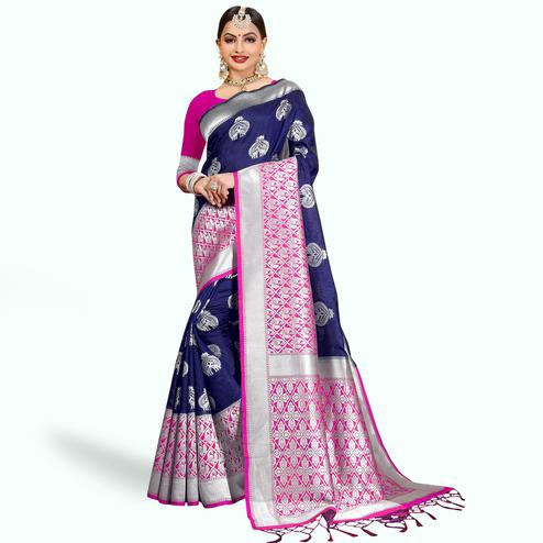 Classy Navy Blue Colored Festive Wear Woven Cotton Silk Saree
