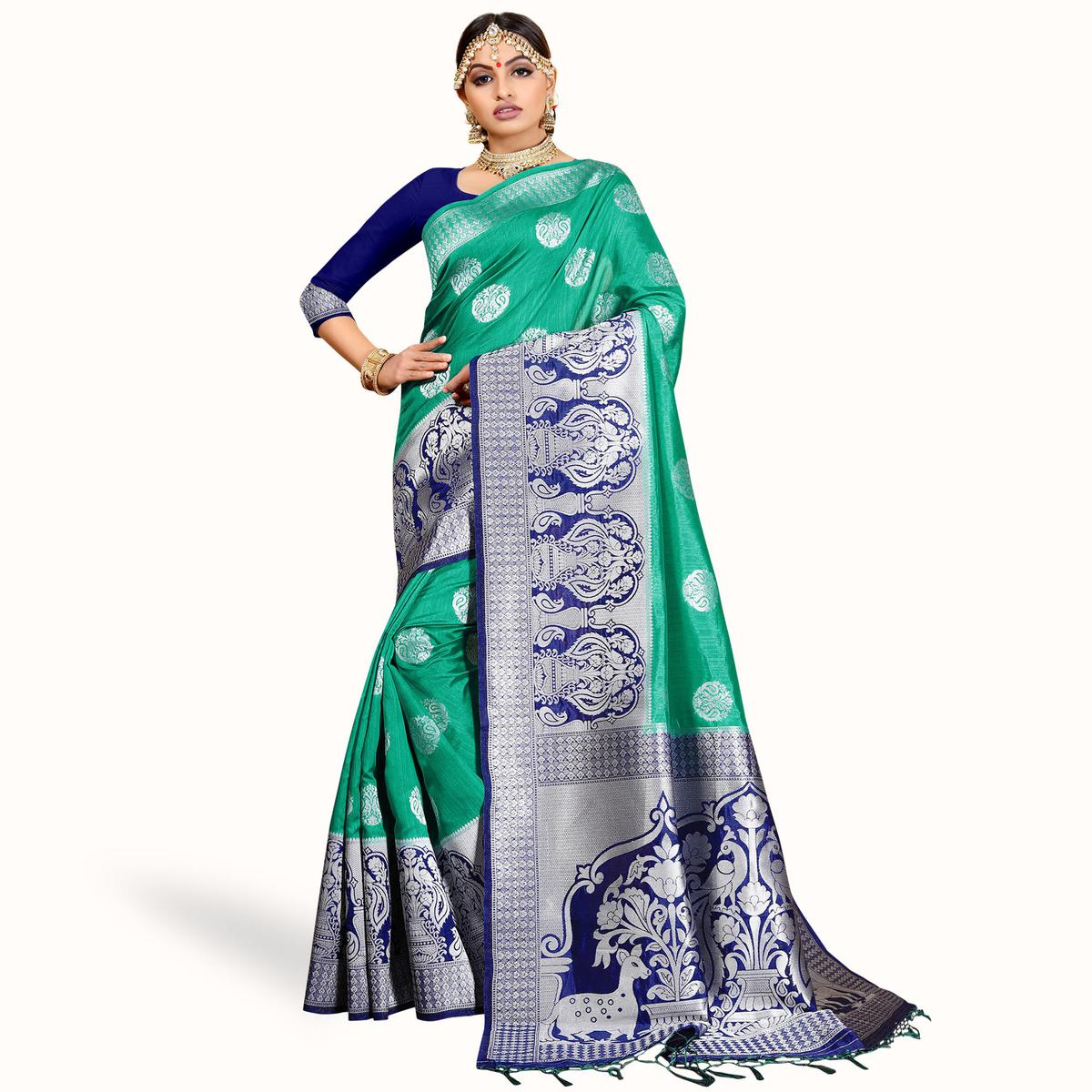 Eye-Catching Turquoise Green Colored Festive Wear Woven Cotton Silk Saree