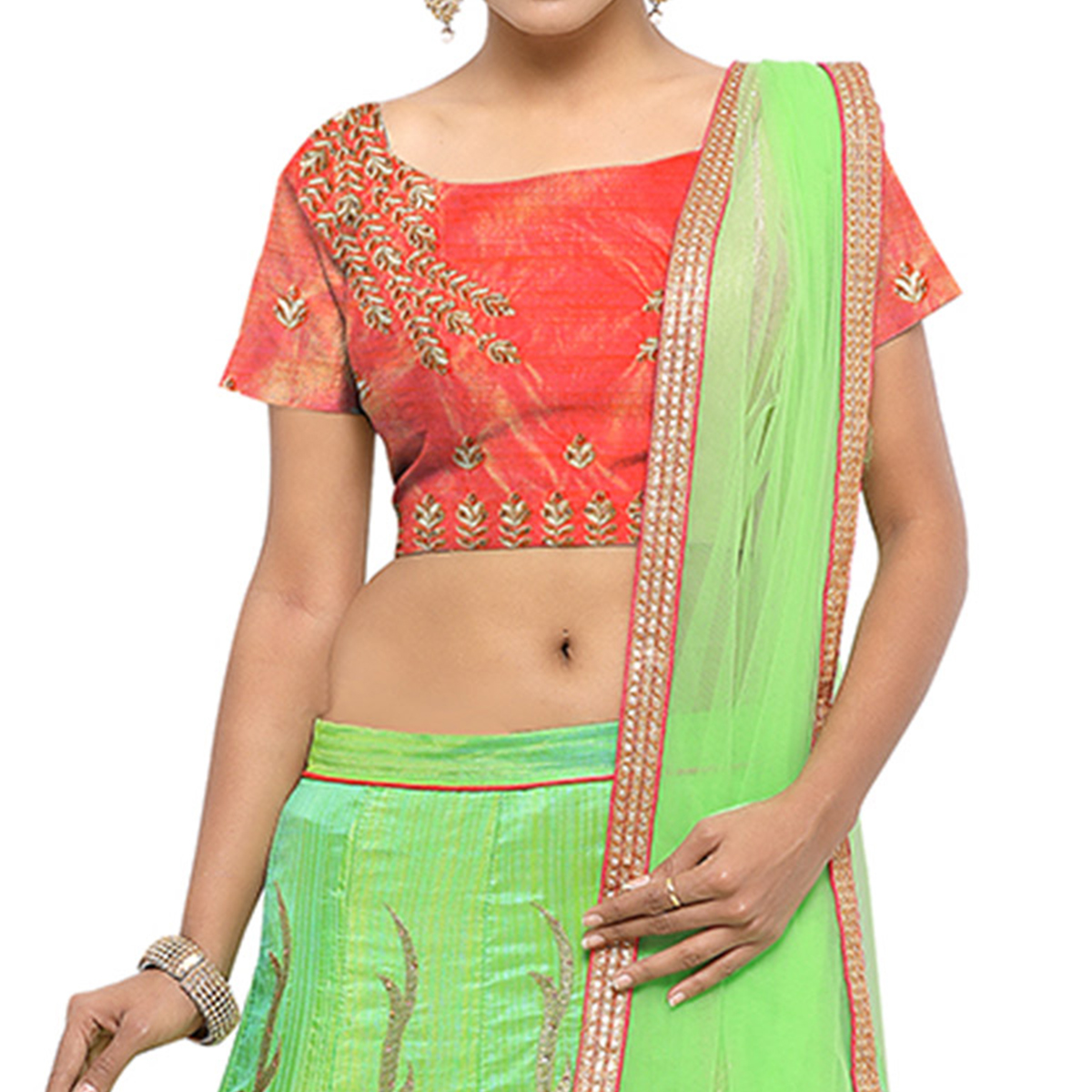 Parrot Green Banglori Silk Embroidered Lehenga