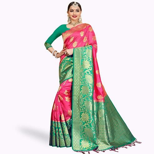 Desiring Pink Colored Festive Wear Woven Cotton Silk Saree
