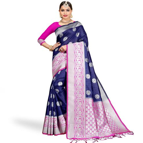 Adorable Navy Blue Colored Festive Wear Woven Cotton Silk Saree