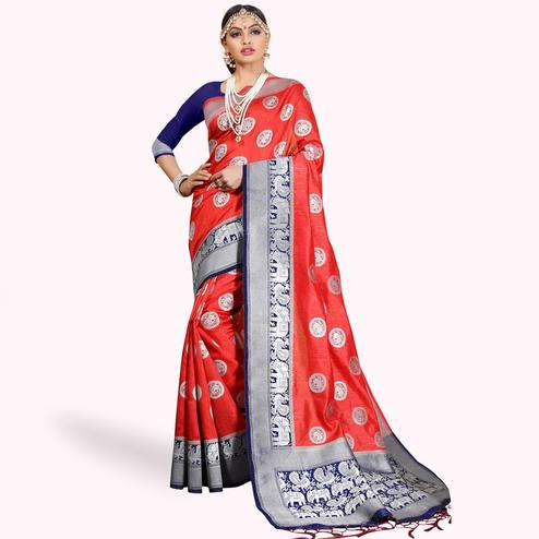Demanding Red Colored Festive Wear Woven Cotton Silk Saree