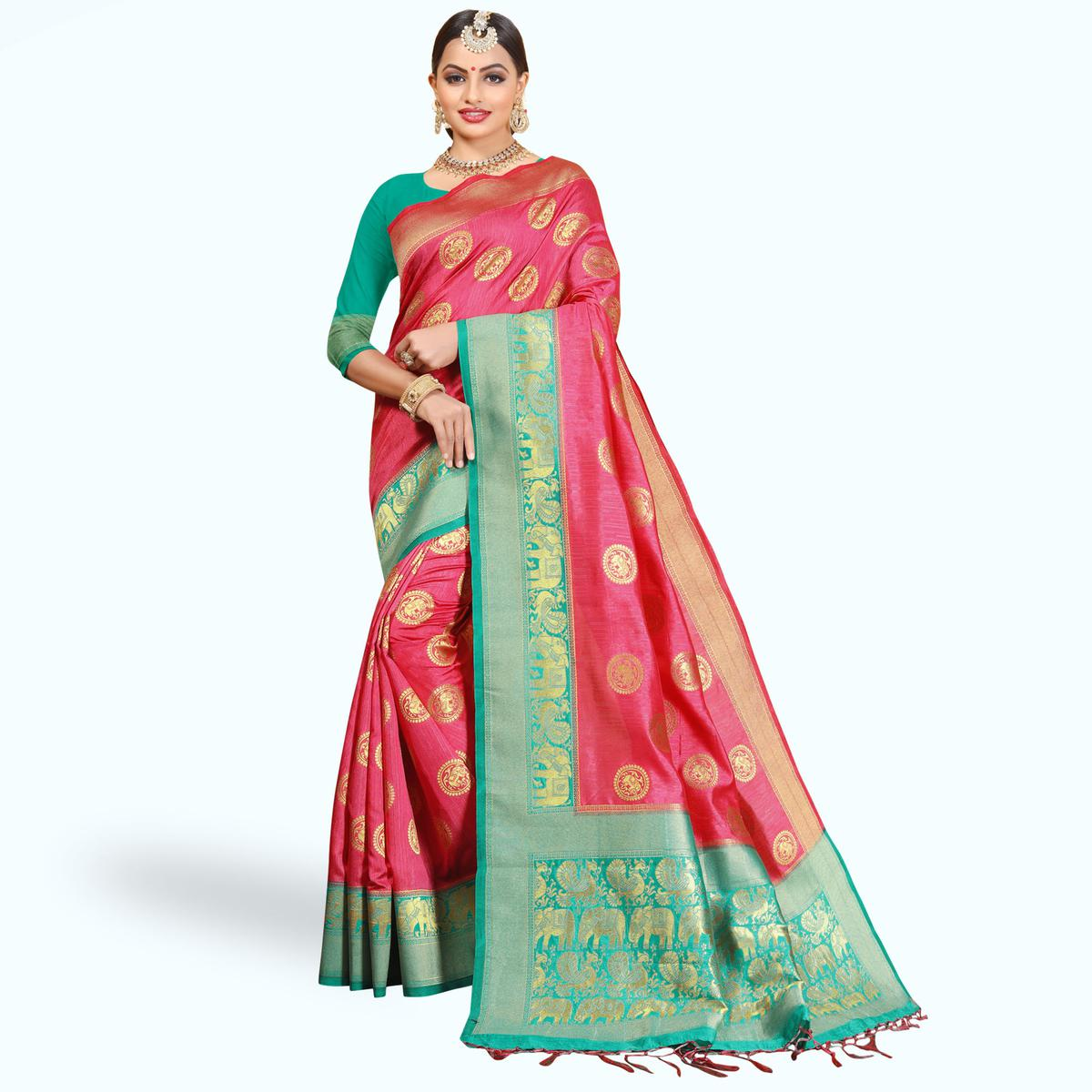 Charming Pink Colored Festive Wear Woven Cotton Silk Saree
