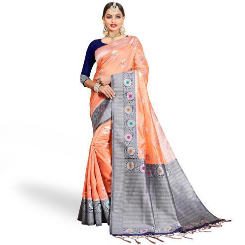 Trendy Peach Colored Festive Wear Woven Cotton Silk Saree