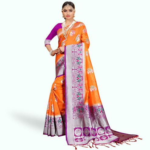 Opulent Orange Colored Festive Wear Woven Cotton Silk Saree