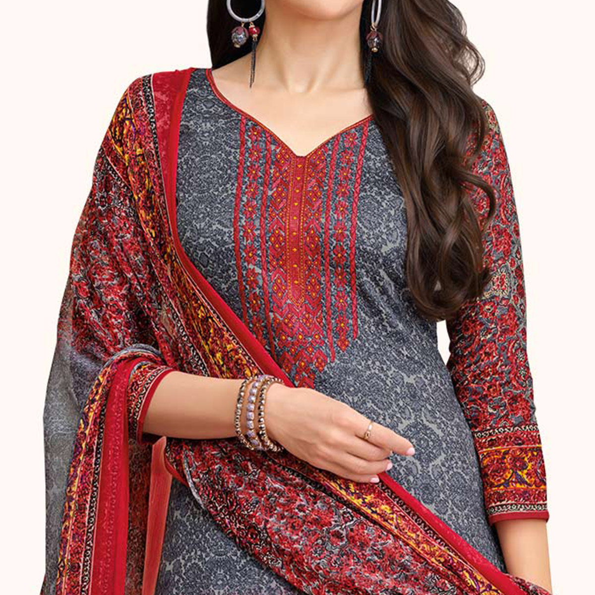 Glorious Gray-Red Colored Casual Printed Satin Dress Material