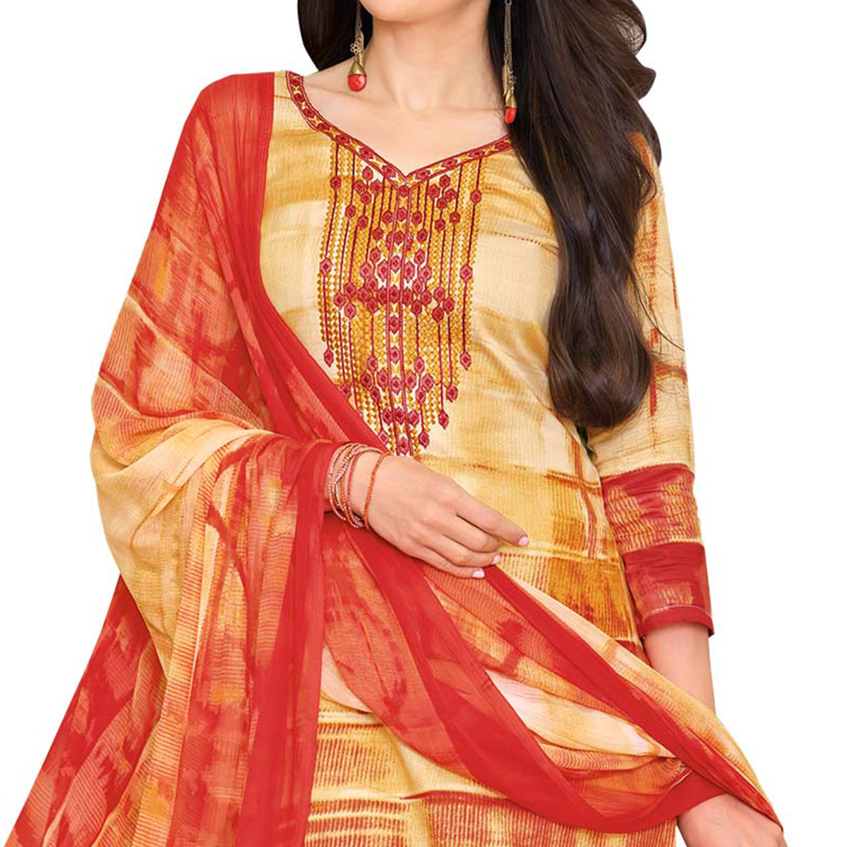 Attractive Beige-Red Colored Casual Printed Satin Dress Material