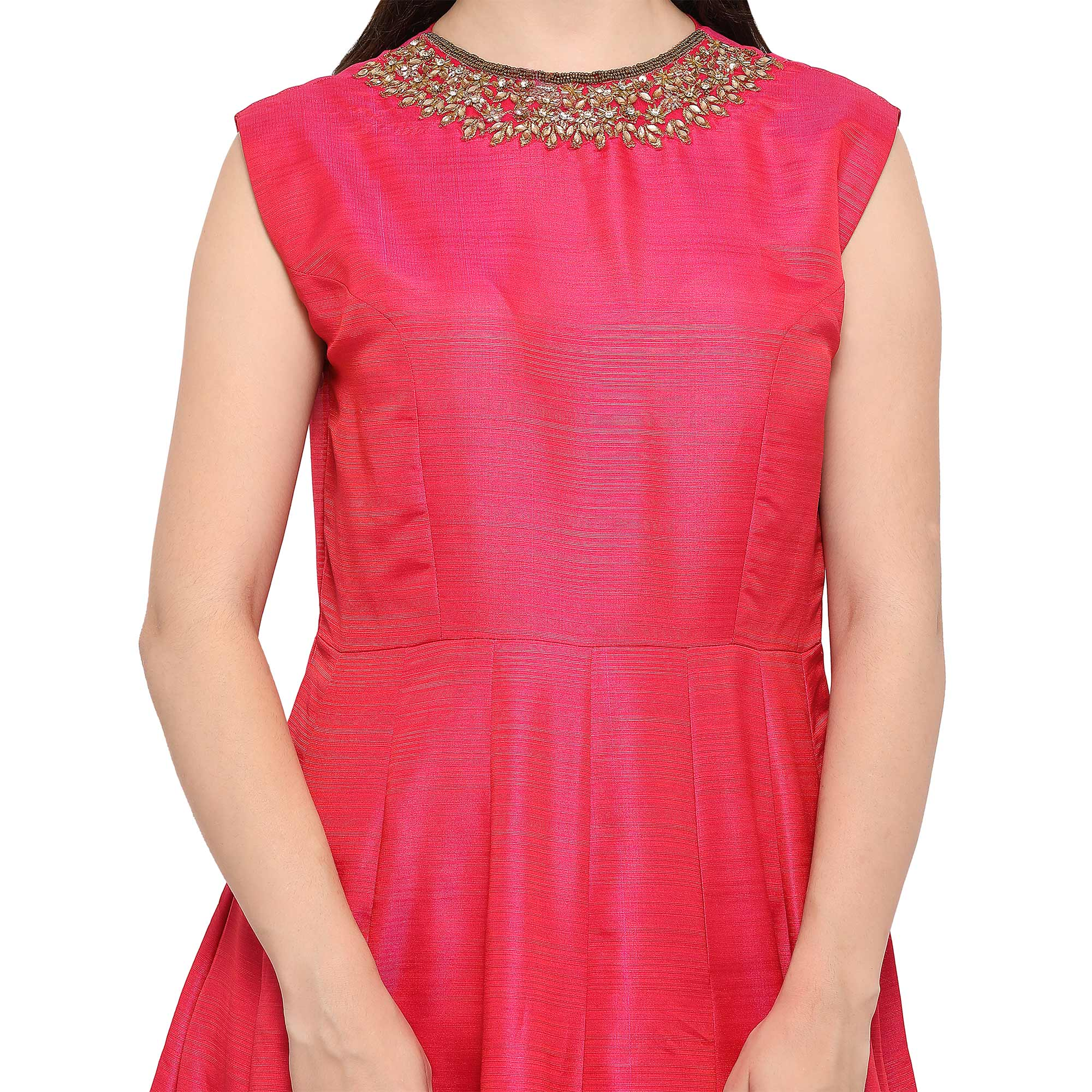 Appealing Pink Designer Hand Embroidered Mustani Silk Gown