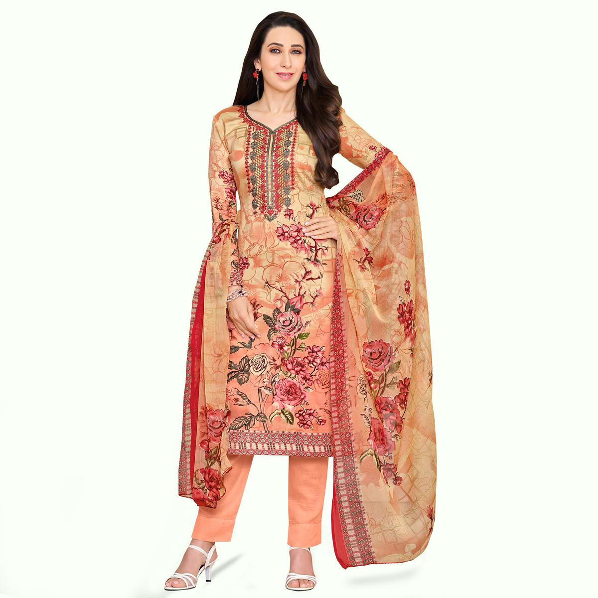 Graceful Peach Colored Casual Printed Satin Dress Material