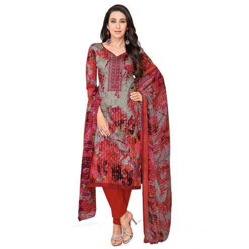 Jazzy Gray-Red Colored Casual Printed Satin Dress Material