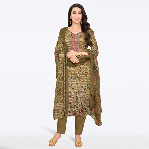 Delightful Coffee Brown Colored Casual Printed Satin Dress Material