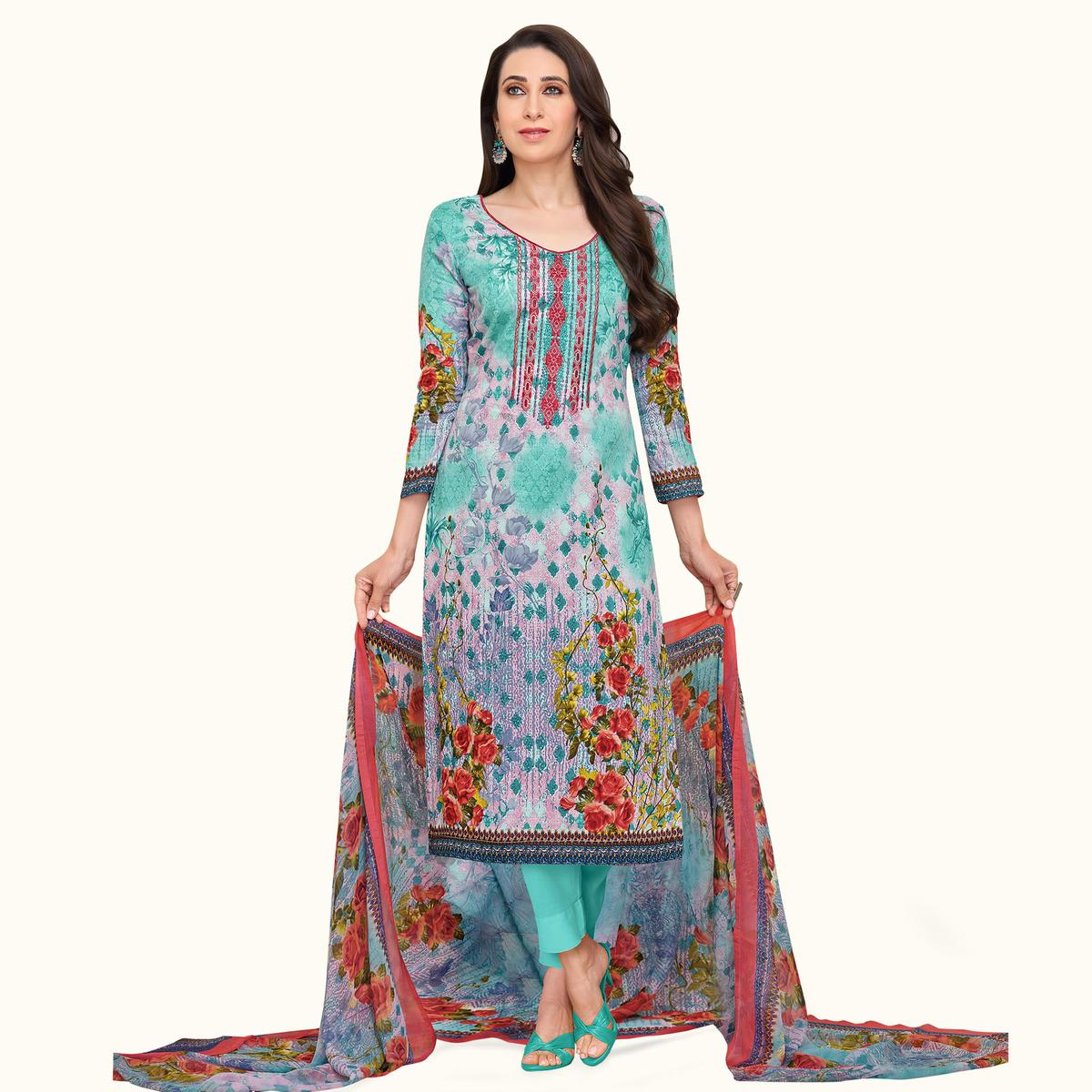 Radiant Cyan-Pink Colored Casual Printed Satin Dress Material