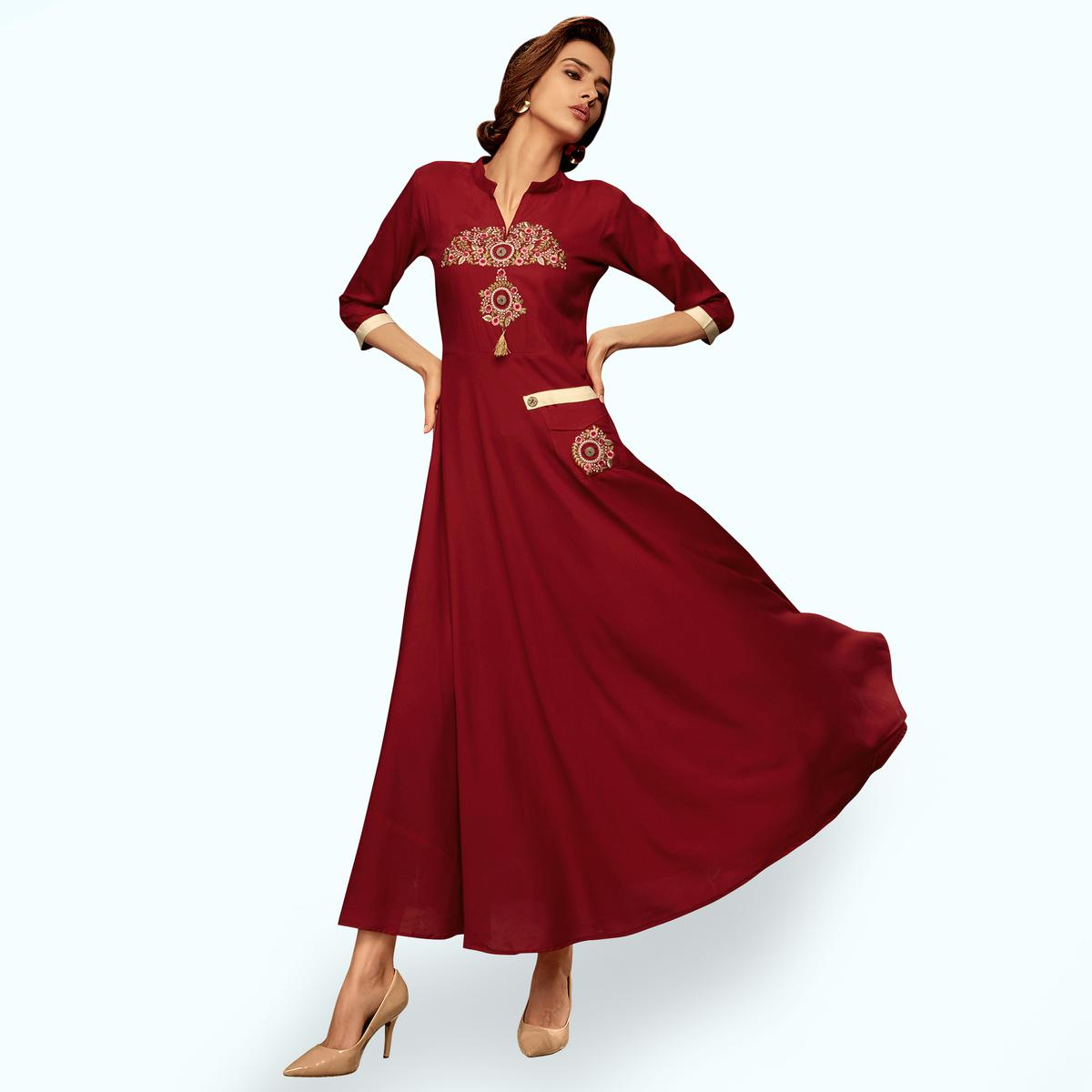 Graceful Red Colored Partywear Embroidered Rayon Long Kurti