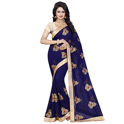 Blue Georgette Embroidered Partywear Saree