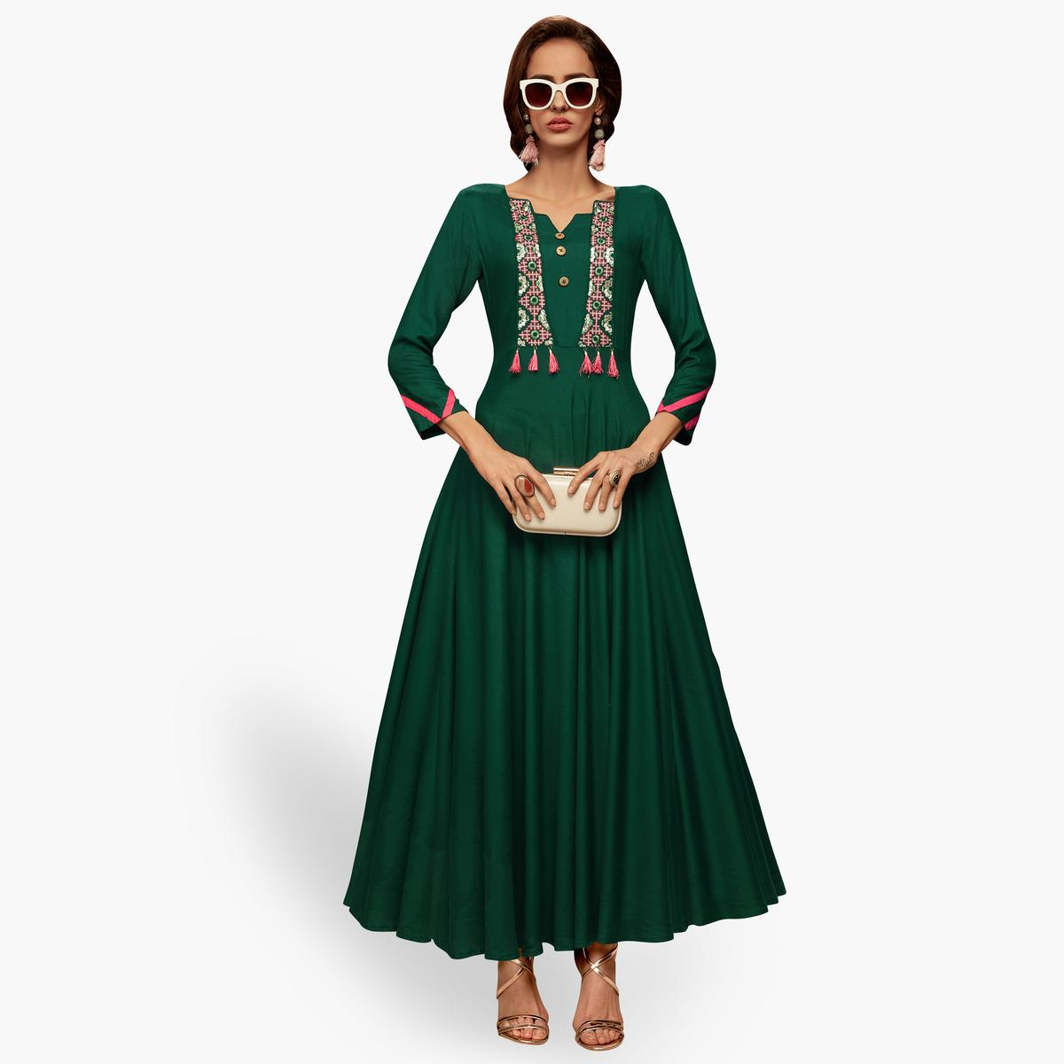 Jazzy Dark Green Colored Partywear Embroidered Rayon Long Kurti