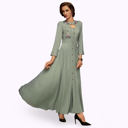Delightful Gray Colored Partywear Embroidered Rayon Long Kurti