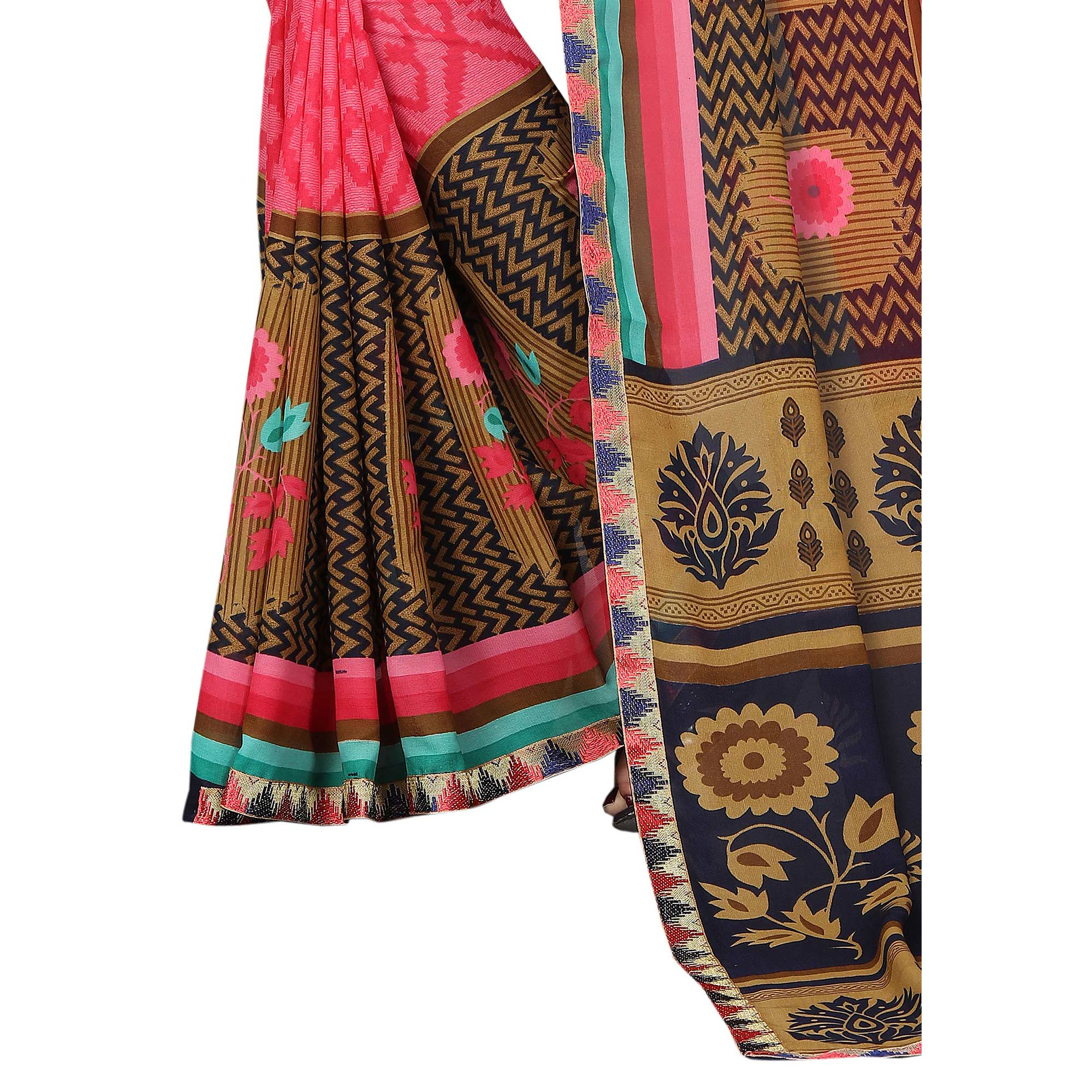 Imposing Pink Colored Casual Wear Printed Georgette Saree