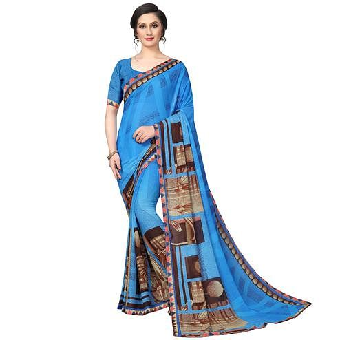 Majesty Sky Blue Colored Casual Wear Printed Georgette Saree