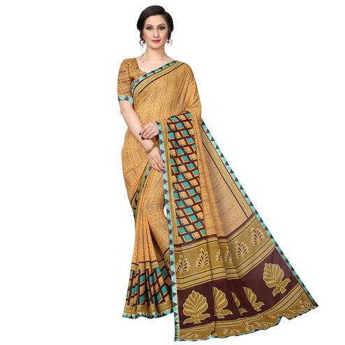 Mesmerising Beige Colored Casual Wear Printed Georgette Saree