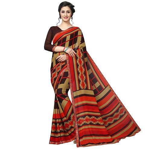 Pleasance Olive Green - Multi Colored Casual Wear Printed Georgette Saree
