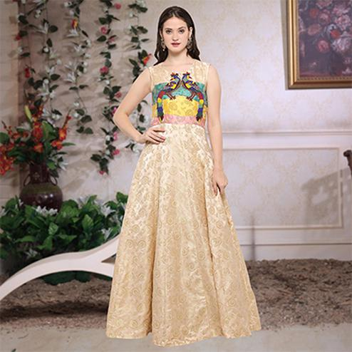 Elegant Cream Designer Hand Embroidered Jacquard Silk Gown
