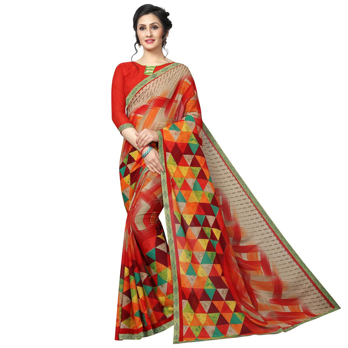 Breathtaking Red - Multi Colored Casual Wear Printed Georgette Saree