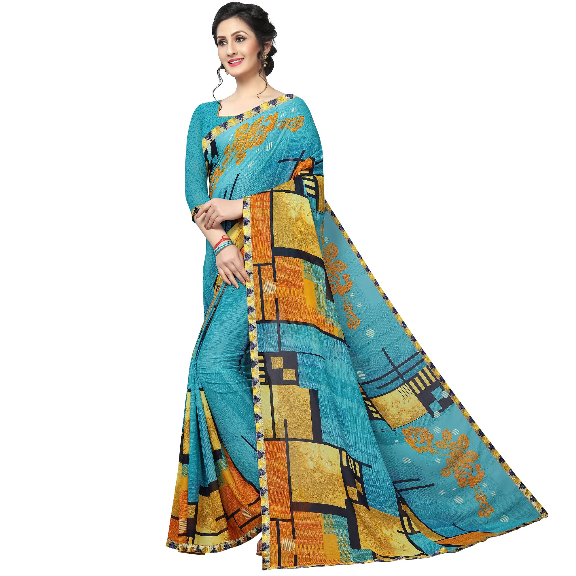 Ethnic Sky Blue Colored Casual Wear Printed Georgette Saree