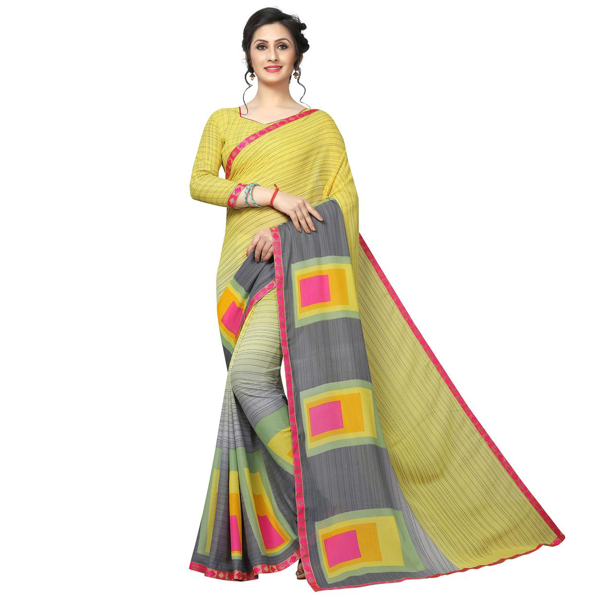 Staring Yellow - Gray Colored Casual Wear Printed Georgette Saree