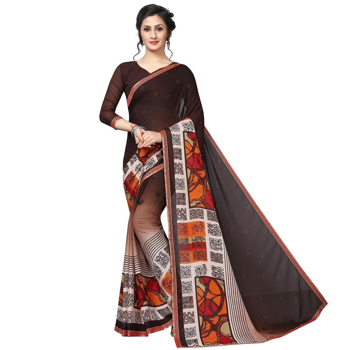Dazzling Brown Colored Casual Wear Printed Georgette Saree