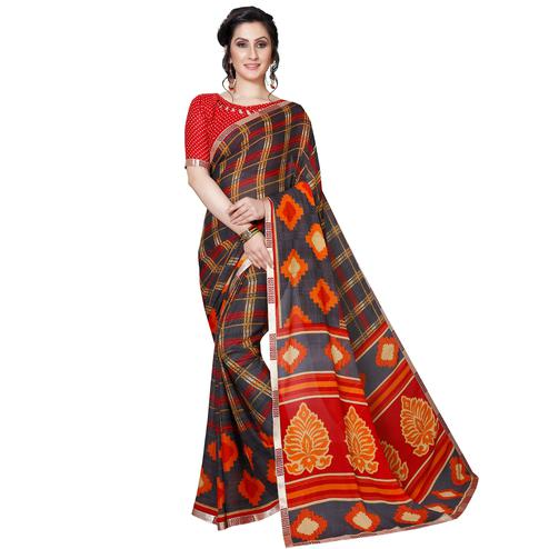 Intricate Dark Gray Colored Casual Wear Printed Georgette Saree