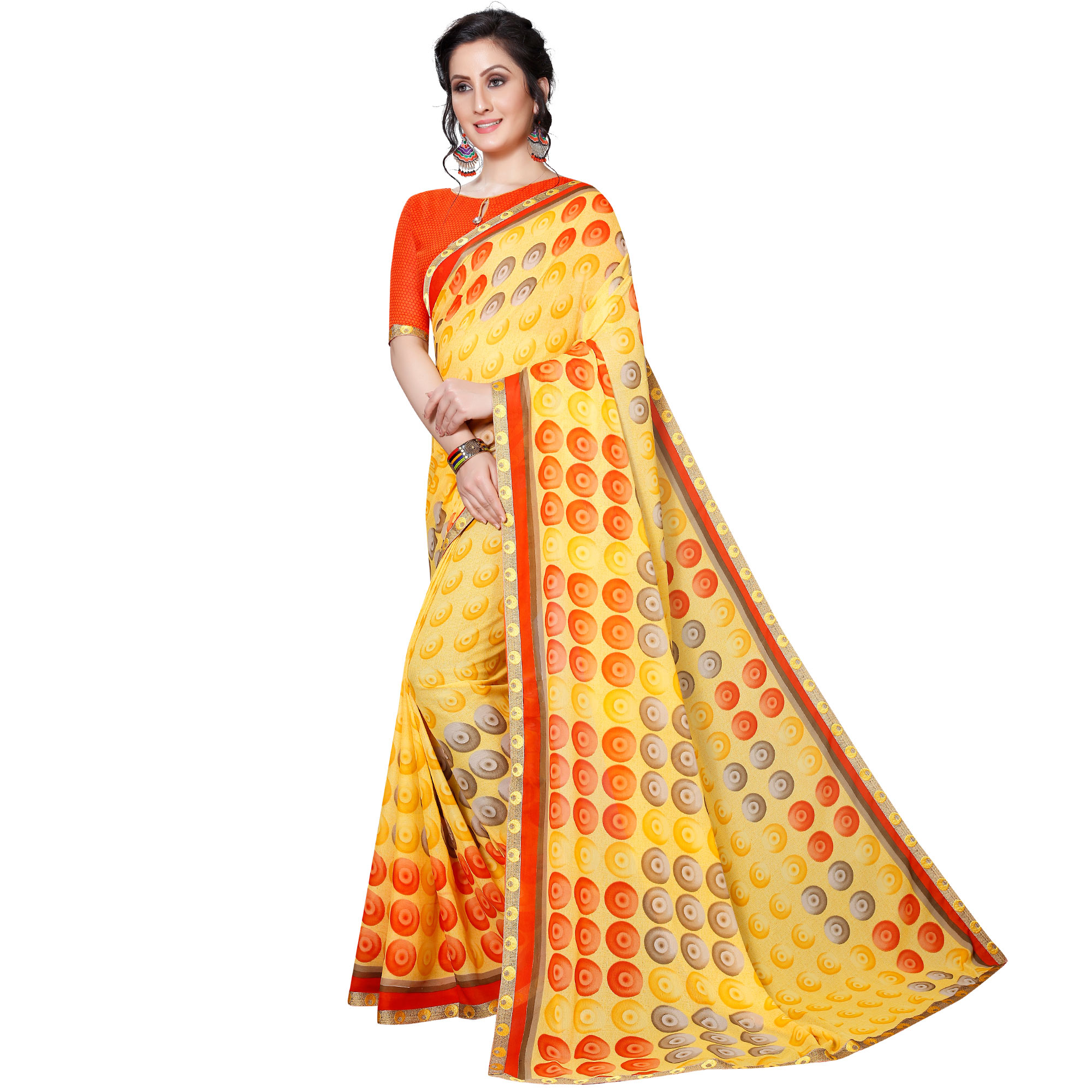 Arresting Yellow Colored Casual Wear Printed Georgette Saree