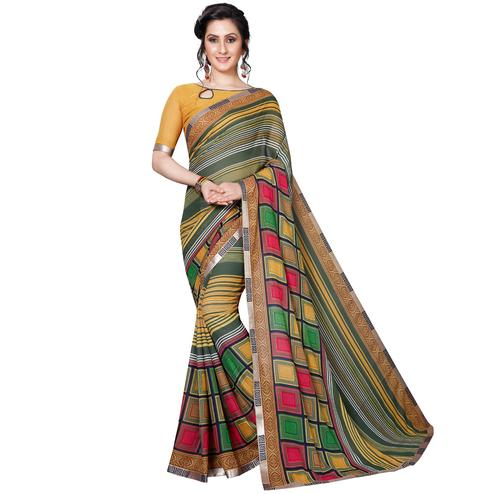 Desirable Green - Multi Colored Casual Wear Printed Georgette Saree