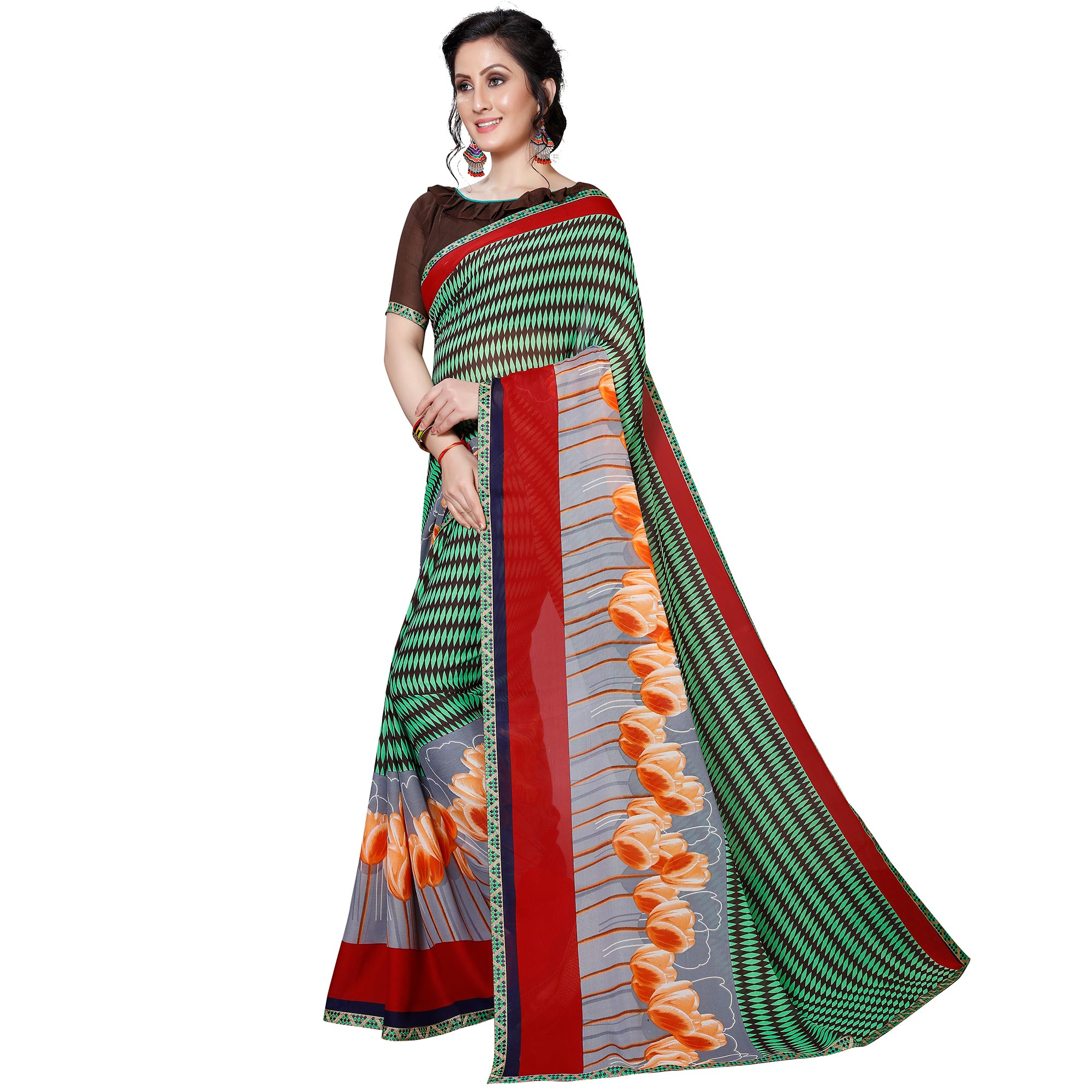 Exotic Brown - Green Colored Casual Wear Printed Georgette Saree