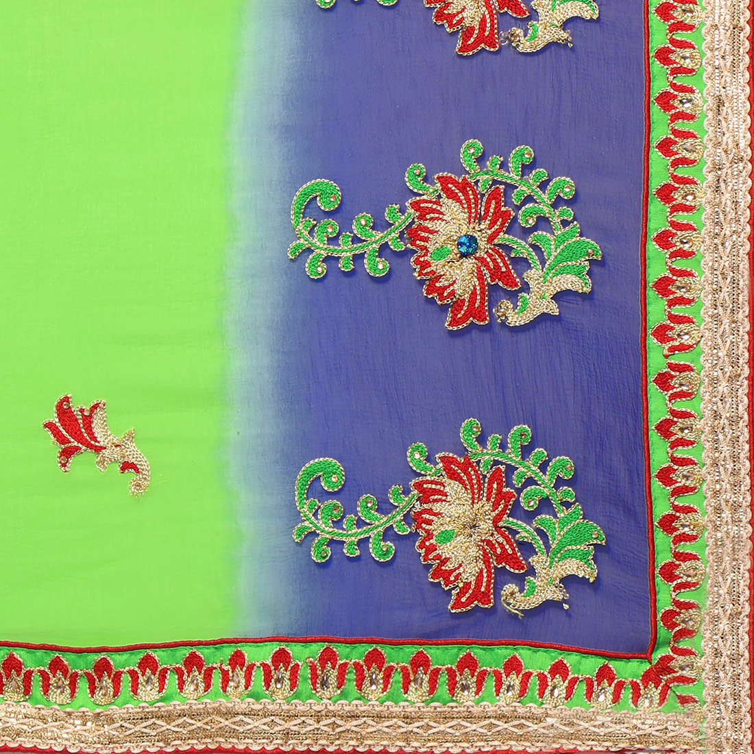 Green - Blue Chiffon Embroidered Partywear Saree