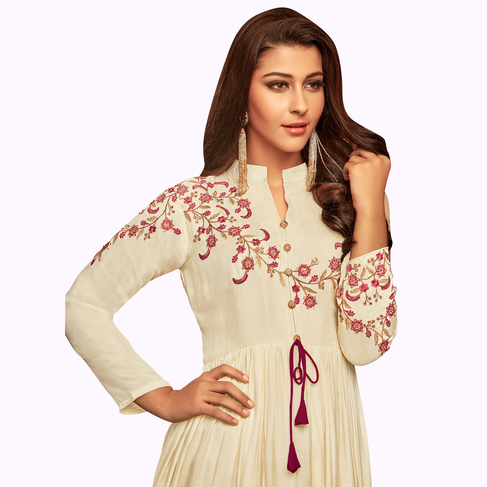 Fantastic Cream Colored Partywear Embroidered Cotton Gown
