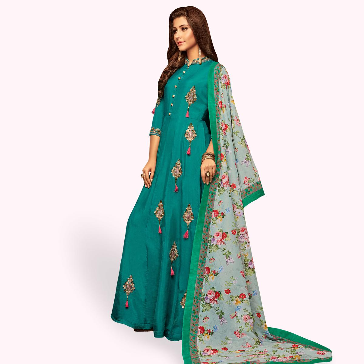 Amazing Rama Green Colored Partywear Embroidered Cotton Gown