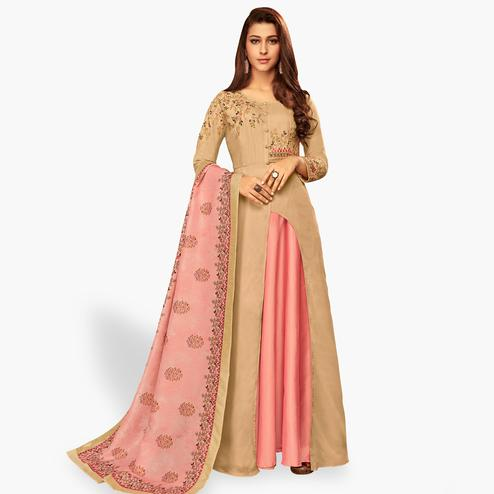 Blissful Light Brown-Pink Colored Partywear Embroidered Cotton Gown