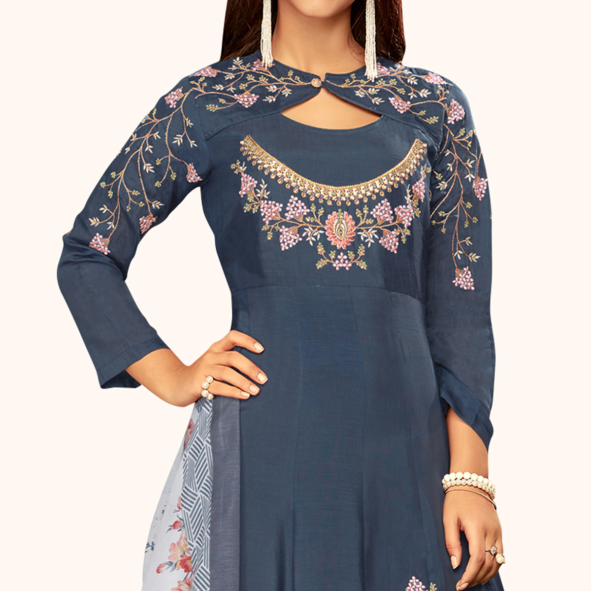 Ideal Bluish Gray Colored Partywear Embroidered Cotton Gown