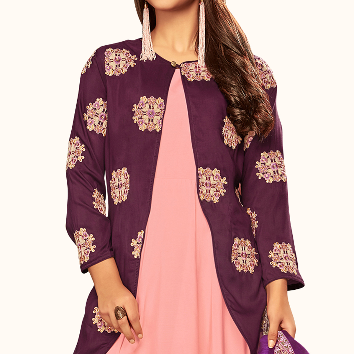 Imposing Purple-Pink Colored Partywear Embroidered Cotton Gown