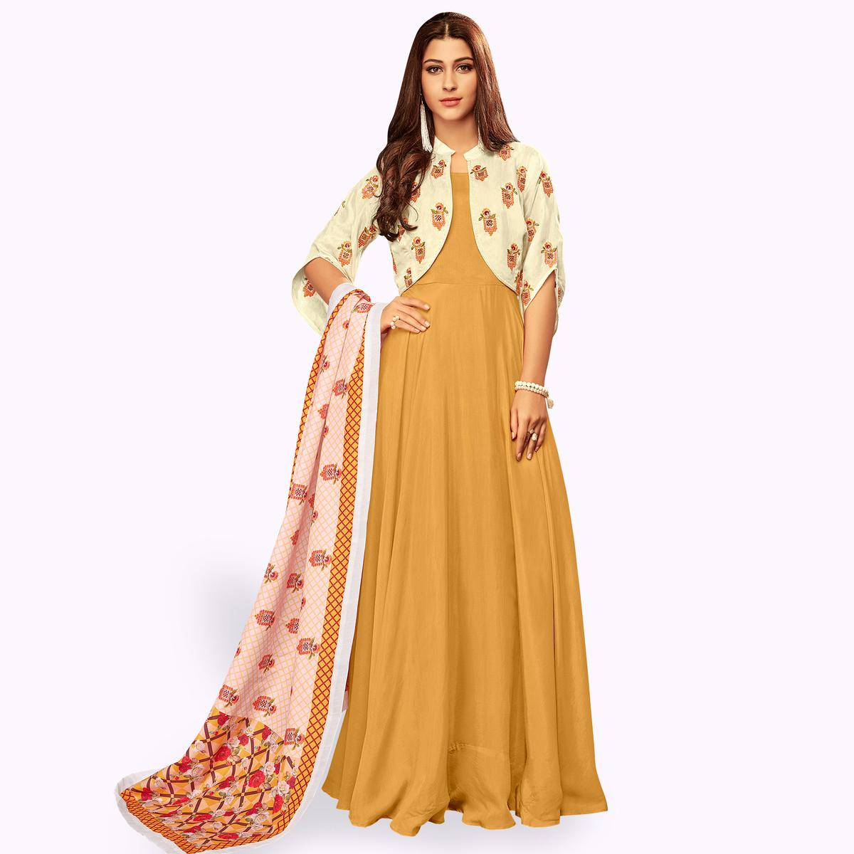 Lovely Yellow Colored Partywear Embroidered Cotton Gown