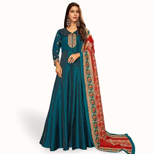 Majesty Peacock Blue Colored Partywear Embroidered Satin-Georgette Gown