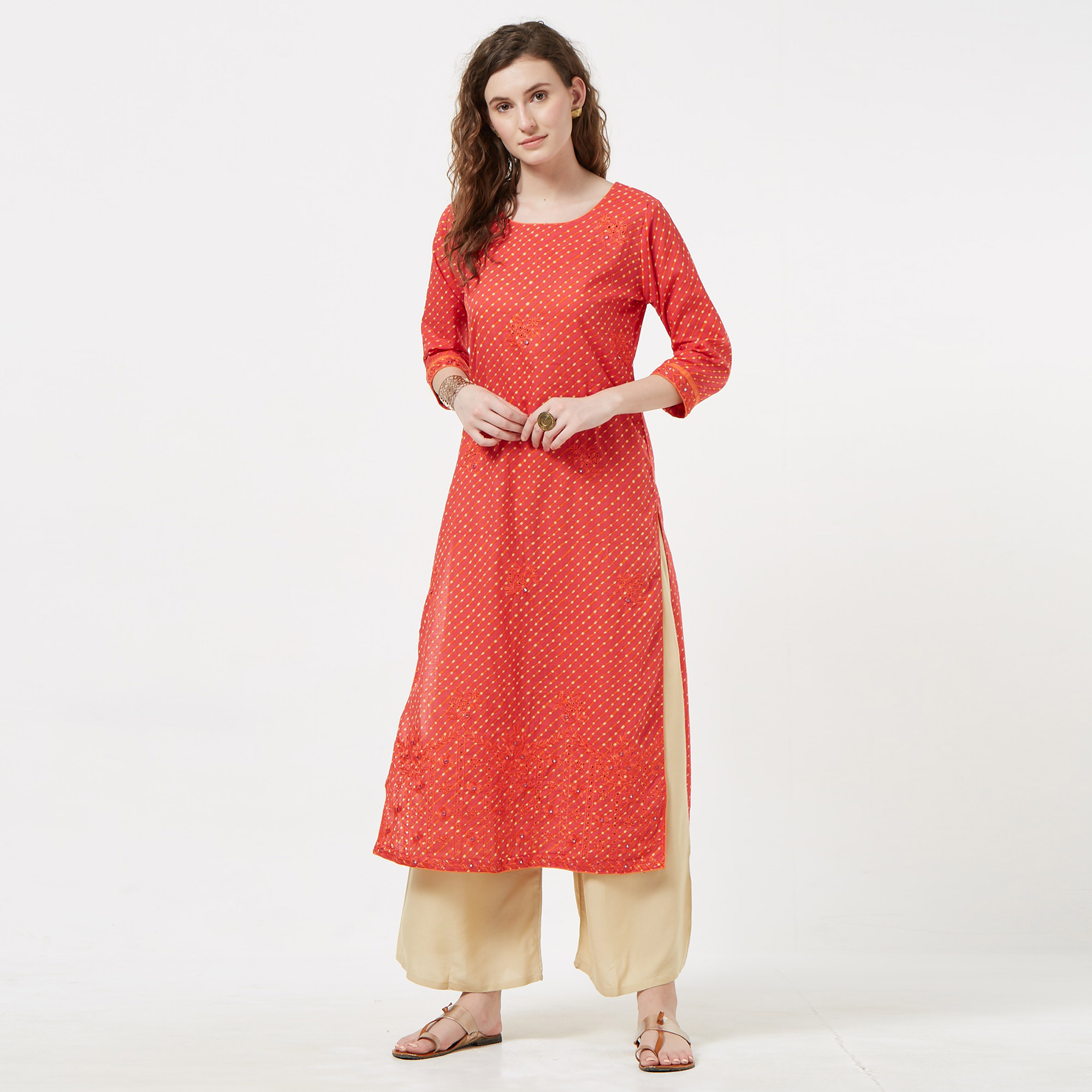 Eye-catching Pink Colored Casual Embroidered Cotton Long Kurti