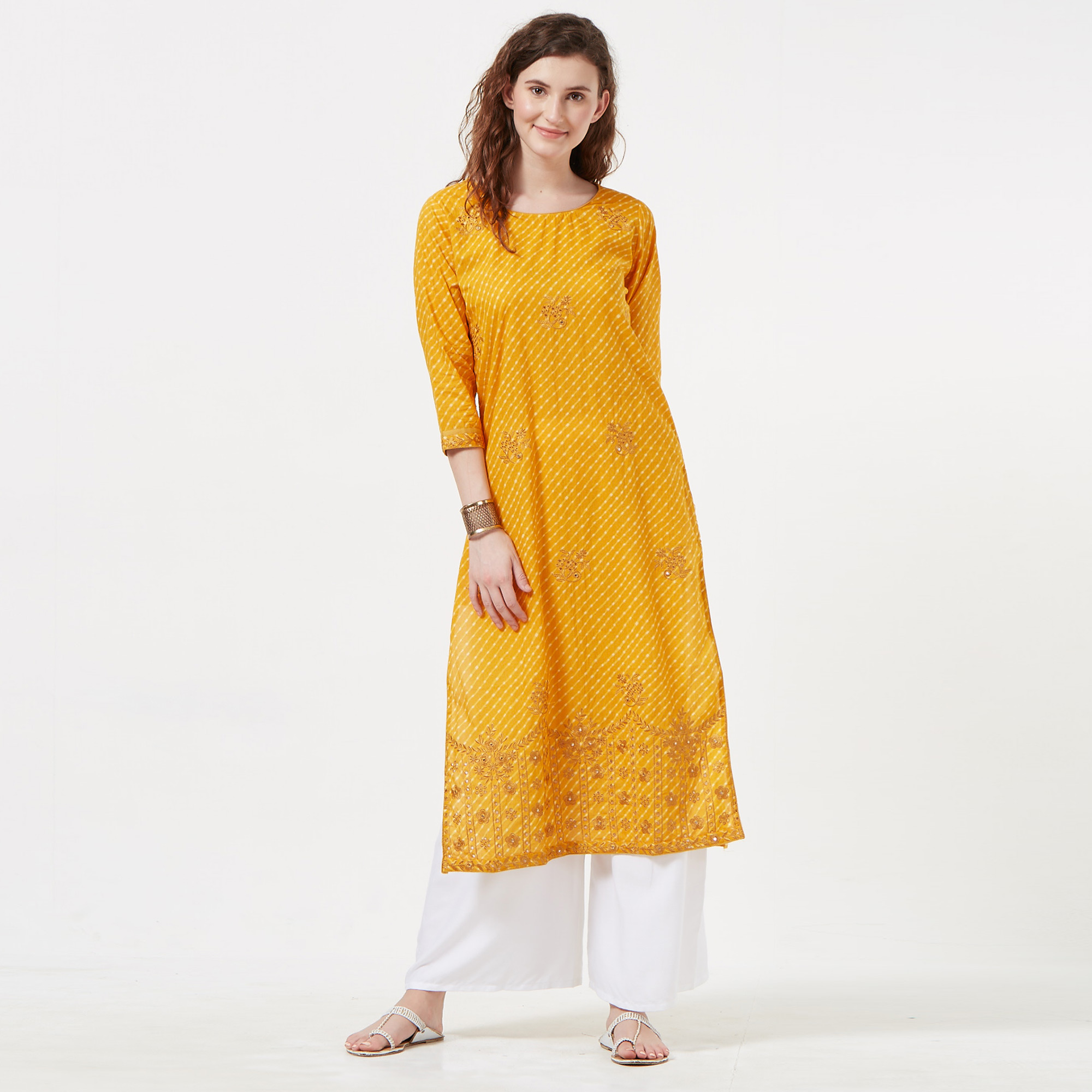 Fantastic Yellow Colored Casual Embroidered Cotton Long Kurti