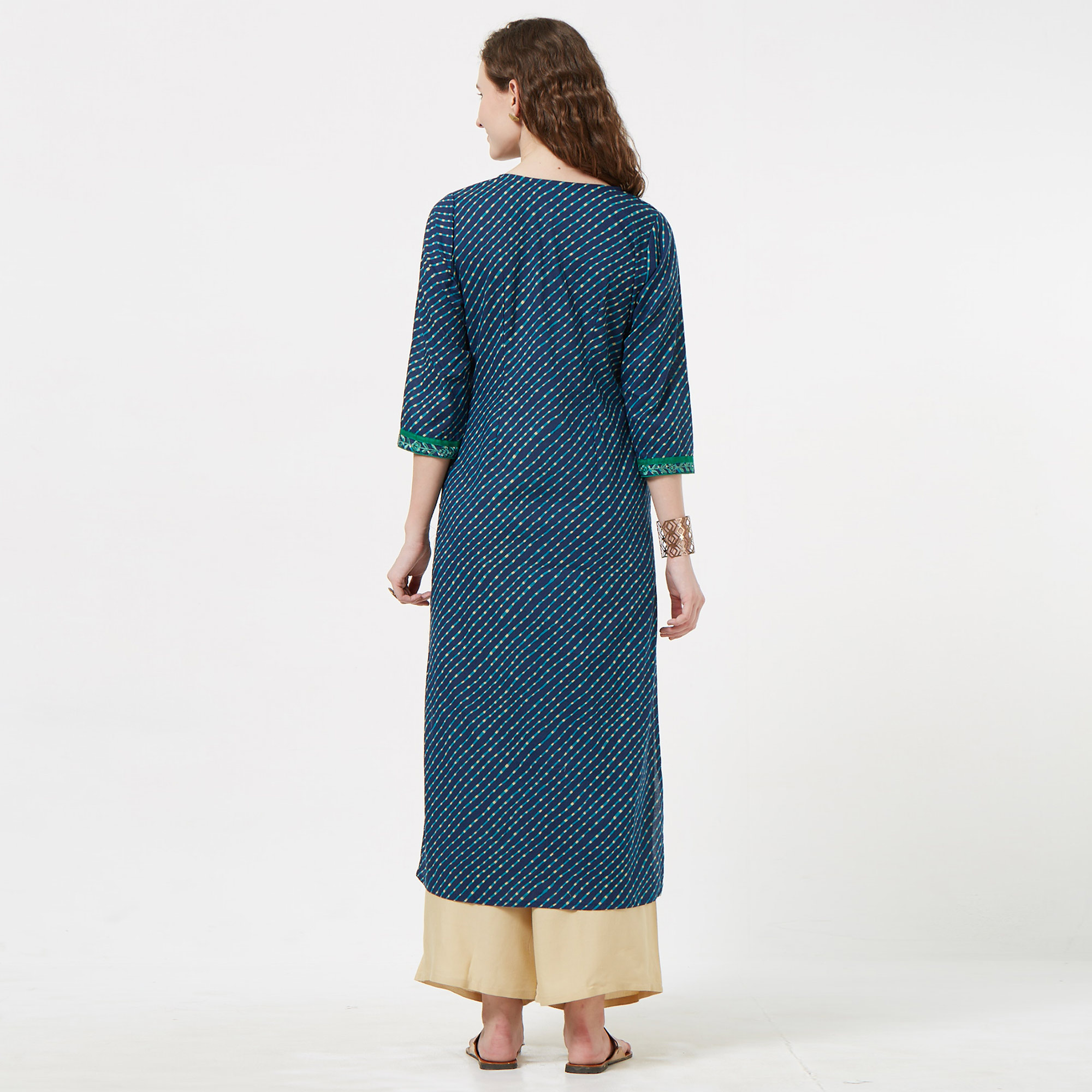 Amazing Navy Blue Colored Casual Embroidered Cotton Long Kurti