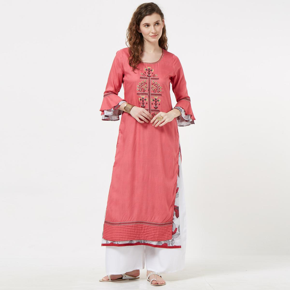 Gorgeous Pink Colored Partywear Embroidered Cotton Long Kurti