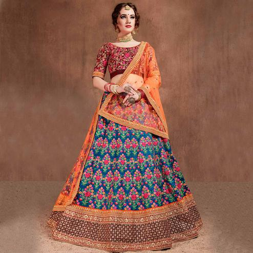 Flamboyant Blue-Red Colored Partywear Embroidered Mulberry Silk Lehenga Choli