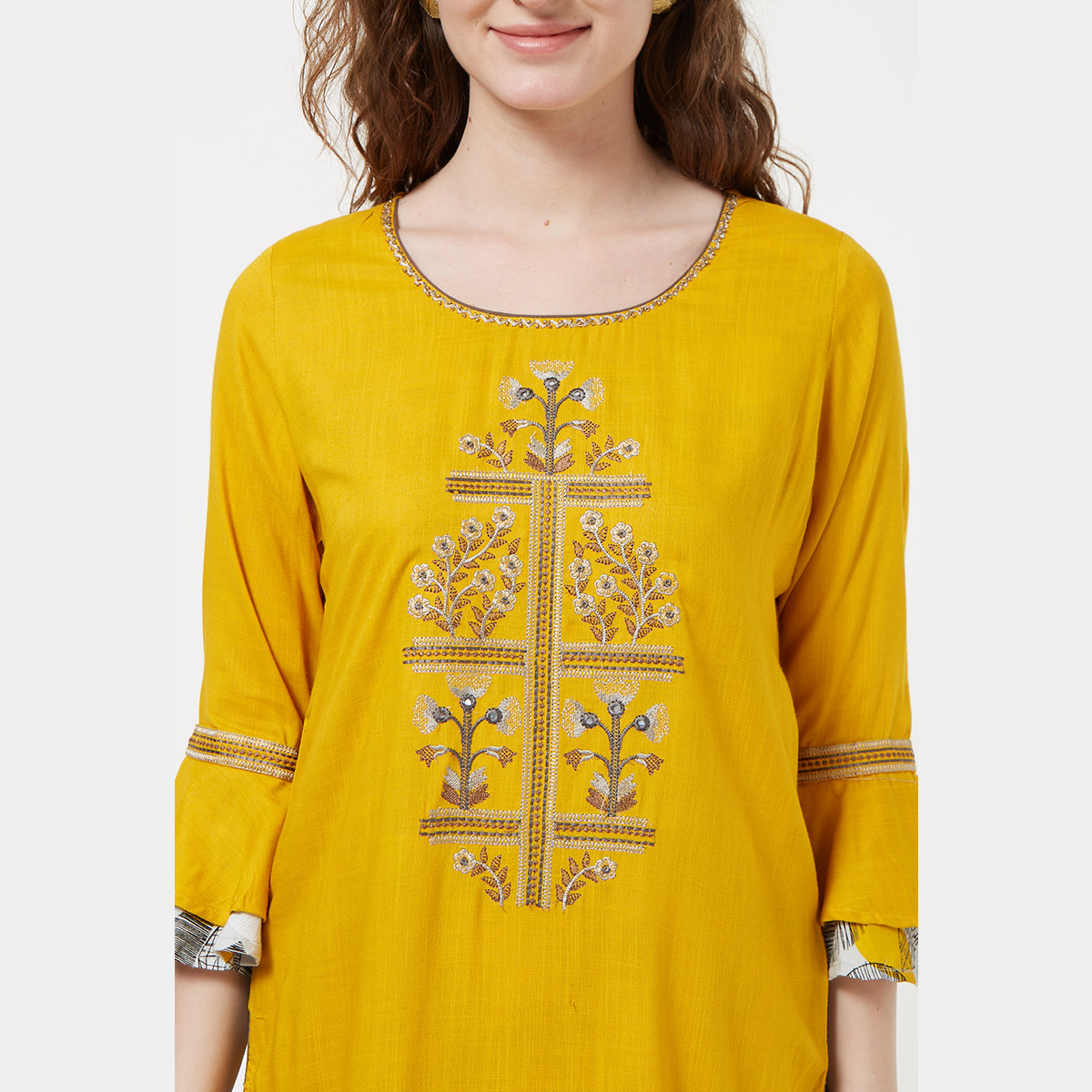 Blissful Yellow Colored Partywear Embroidered Cotton Long Kurti